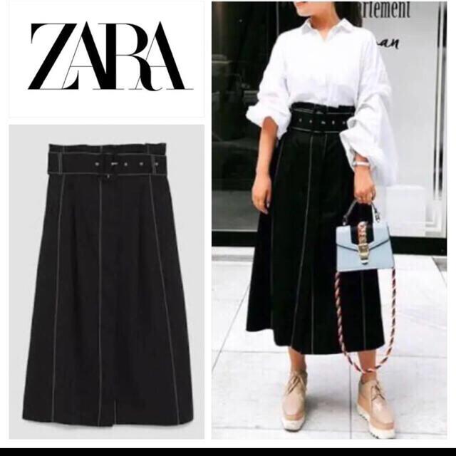 ZARA(ザラ)の値下げ ZARA コントラストトップステッチスカート ブルー 美品 レディースのスカート(ロングスカート)の商品写真
