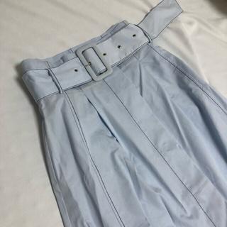 ZARA - ZARA コントラストトップステッチスカート ブルー 美品