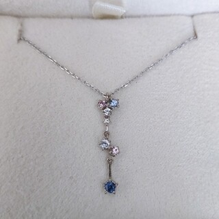 STAR JEWELRY - スタージュエリー ダイヤモンド×サファイア ネックレス K18WG 2.1g