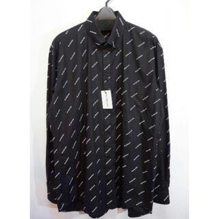 バレンシアガ(Balenciaga)のBALENCIAGA ロゴプリント シャツ ブラック オールオーバー 新品未使用(シャツ)