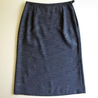 Ver ache タイトスカート シルバープリント グレー(ひざ丈スカート)