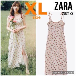 ZARA - 【ZARA】ザラ XL フラワープリント リネンブレンド ワンピース 妊婦