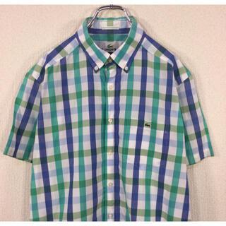 LACOSTE - ラコステ LACOSTE 半袖BDシャツ ブロックチェック柄 ワニ刺繍
