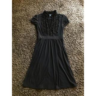 ビーシービージーマックスアズリア(BCBGMAXAZRIA)のとても着やすい ジャージ素材の ブラックワンピ♪(ひざ丈ワンピース)
