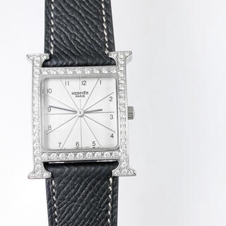 Hermes - 【仕上済/ベルト2本】エルメス Hウォッチ シルバー ダイヤ メンズ 腕時計