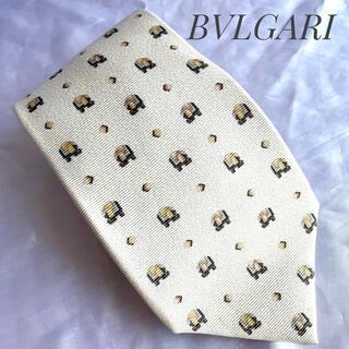 ブルガリ(BVLGARI)の《BVLGARI》ネクタイ シルク イエロー イタリア製 幾何学模様(ネクタイ)