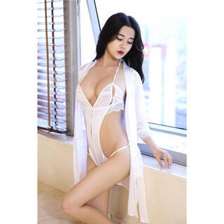 ベビードール セクシーランジェリー  過激 大胆 浴衣 ホワイト3点セット★新品(衣装一式)