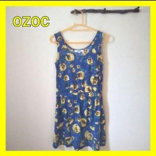 オゾック(OZOC)のOZOC オゾック 花柄ワンピース ミニワンピース ブルー 夏服リゾート(ミニワンピース)