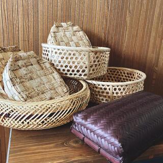 竹細工 竹籠 天然素材 弁当箱  小物入れ  収納籠 7点セット