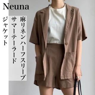 ヌナ(nuna)の美品 Neuna リネンハーフスリーブサマーテーラードジャケット(テーラードジャケット)
