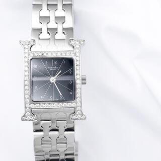 エルメス(Hermes)の【仕上済】エルメス Hウォッチ 黒文字盤 ブレス シルバー レディース 時計(腕時計)