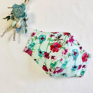 ☆残わずか☆スーピマ×日本製ガーゼ インナーマスク ミントグリーン水彩花柄
