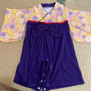 袴 ロンパース サイズ80 柔らか素材 (和服/着物)