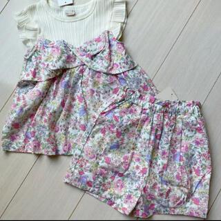 petit main - プティマイン 110 花柄ドッキングTシャツ&タックバルーンショートパンツ