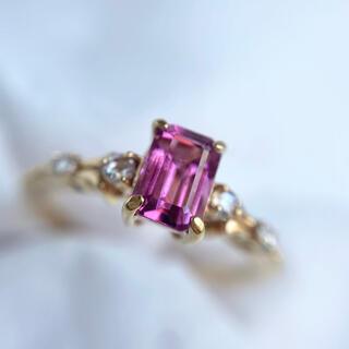 k18  ピンクトルマリン エメラルドカット ローズカットダイヤモンド リング