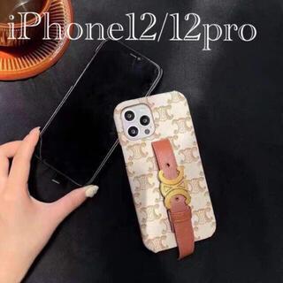 iPhone12/12proスマホケースベルト付きフェイクレザー