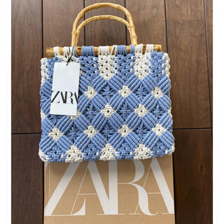 ZARA - 新品 ZARA バンブーハンドル マクラメ トートバッグ 編み込み