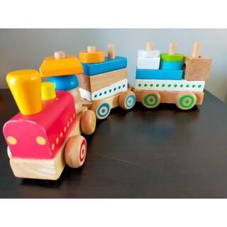 木のおもちゃ 積み木電車 車 セット(知育玩具)