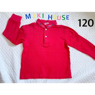 ミキハウス(mikihouse)のミキハウス ポロシャツ 襟 刺繍 カラフル 赤 120 レトロ 旧タグ(Tシャツ/カットソー)