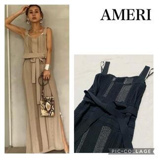 Ameri VINTAGE - アメリLACE LIKE LONG KNIT DRESSブラック S