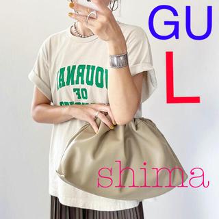 GU - GU カレッジロゴT L ベージュ 新品 カレッジロゴt