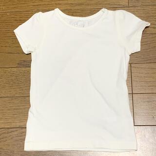 ニシマツヤ(西松屋)の半袖Tシャツ80 ★パフスリーブが可愛いシンプルカットソー白★美品!!!(シャツ/カットソー)