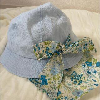 ブランシェス(Branshes)の【新品未使用】ブランシェス 帽子 50センチ 日除けハット 花柄 青 UV(帽子)