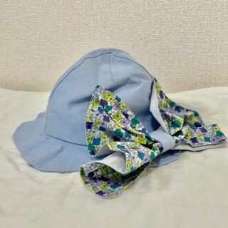 ブランシェス(Branshes)の【新品未使用】ブランシェス 帽子 48センチ 日除けハット 花柄 青 UV(帽子)