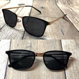 高級 ブラックゴールド/ブラックスモー ウェリントン サングラス ボストン 眼鏡