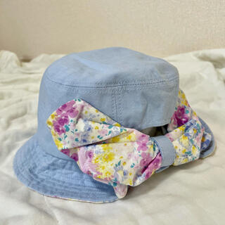 Branshes - 【新品未使用】ブランシェス 帽子 50センチ 日除けハット 花柄 青 UV