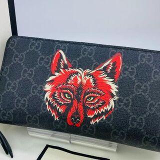 Gucci - グッチ GGシュプリーム ウルフ 狼 タイガー 長財布 黒