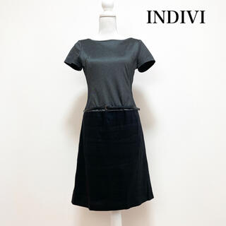 インディヴィ(INDIVI)のINDIVI インディヴィ 膝丈ドッキングワンピース グレー 黒 日本製(ひざ丈ワンピース)
