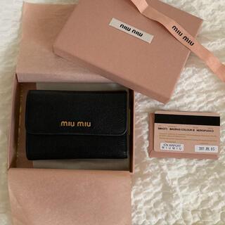 miumiu - miumiu 三つ折り財布 ブラック 赤
