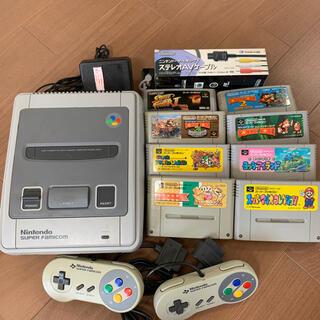 スーパーファミコン(スーパーファミコン)のすぐ遊べるスーパーファミコン一式とソフト8本中古(家庭用ゲーム機本体)
