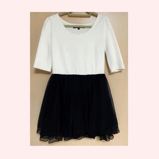 MERCURYDUO - ワンピース シフォン ドレス 7部丈 アイボリー ホワイト ブラック