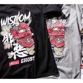 般若ブラックTシャツ 半袖 丸首 ロゴ イラスト 韓国ファッション
