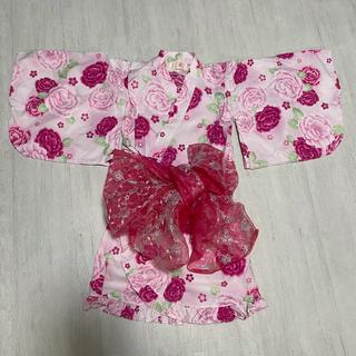 motherways - 浴衣 甚平 女の子 ピンク バラ 帯付き motherways