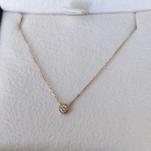 agete(アガット)のagete アガット フリル ダイヤモンド ネックレス K18YG 0.07ct レディースのアクセサリー(ネックレス)の商品写真