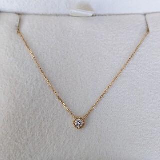 agete - agete アガット フリル ダイヤモンド ネックレス K18YG 0.07ct