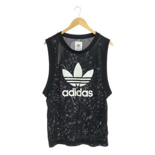 アディダス(adidas)のアディダス カットソー ノースリーブ ロゴ メッシュ L ブラック ホワイト(カットソー(半袖/袖なし))