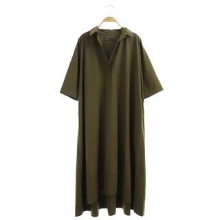 Noble - ノーブル TRタイプライターシャツワンピース ロング 七分袖 38 カーキ 緑