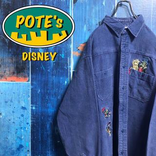 Disney - 【ディズニー】キノピオジミニー・クリケットキャラ刺繍コーデュロイシャツ 90s