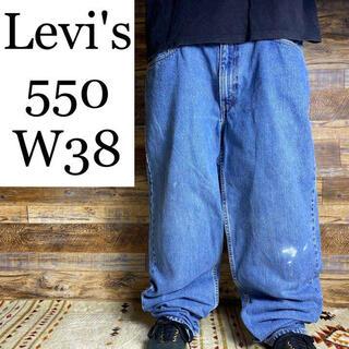 リーバイス(Levi's)のLevi'sリーバイス550w38バギーパンツGパンジーパンブルー太いメンズ古着(デニム/ジーンズ)