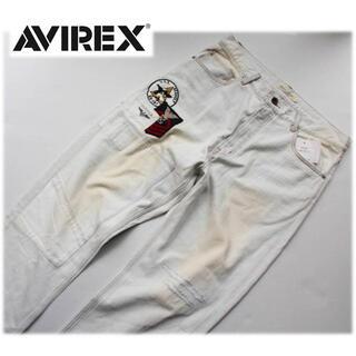 アヴィレックス(AVIREX)の《アヴィレックス》新品訳有 リメイクデニムパンツ ダメージ加工 L(W86)(デニム/ジーンズ)