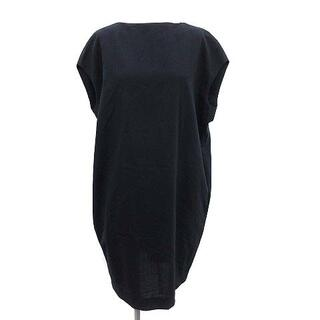 エンフォルド(ENFOLD)のエンフォルド サマーウール フレンチワンピース 半袖 ひざ丈 36 S 紺(その他)