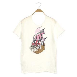 ルシアンペラフィネ(Lucien pellat-finet)のルシアンペラフィネ Tシャツ カットソー プリント 半袖 S 白 ホワイト(Tシャツ/カットソー(半袖/袖なし))