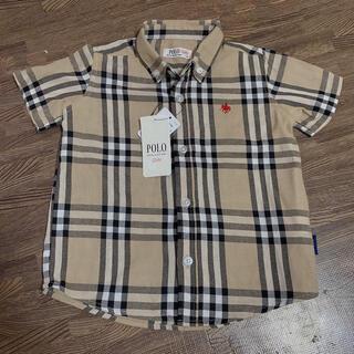 フタフタ(futafuta)の新品 ポロ 90 チェックシャツ ベージュ シャツ 襟付き キッズ(ブラウス)