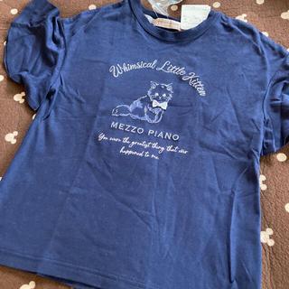 メゾピアノジュニア(mezzo piano junior)のメゾピアノジュニア 猫ちゃんチョーカー付きTシャツ(Tシャツ/カットソー)
