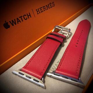 エルメス(Hermes)のアップルウォッチ エルメス 40㎜  レザーバンド ベルト 赤 ルージュピマン(腕時計)