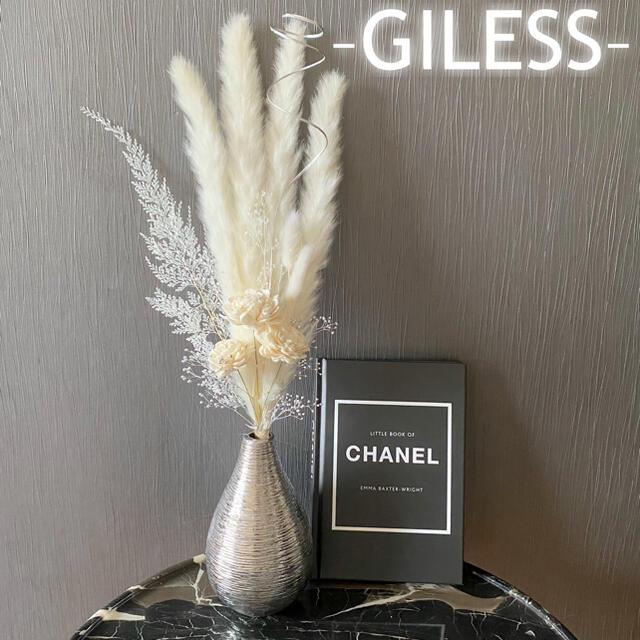 w*ホワイトローズ パンパスグラス テールリード インテリア ドライフラワー 白 ハンドメイドのフラワー/ガーデン(ドライフラワー)の商品写真
